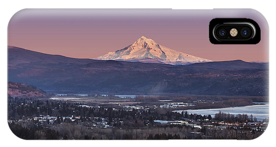 Volcano IPhone X Case featuring the photograph Mt. Hood From Camas by John Christopher