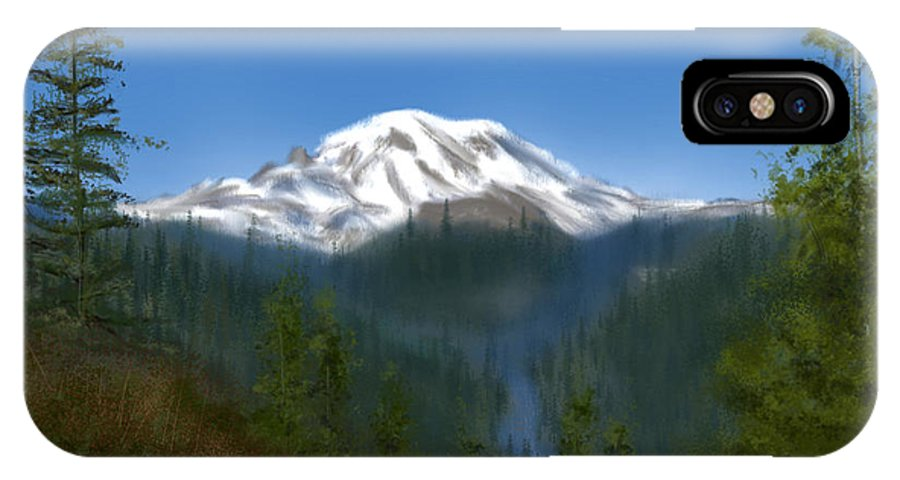 Mountain IPhone X / XS Case featuring the painting Mt Rainier by Becky Herrera