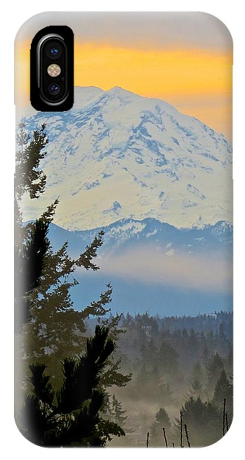 Landscape IPhone X Case featuring the photograph Mt. Rainier #1 by Gena Palm