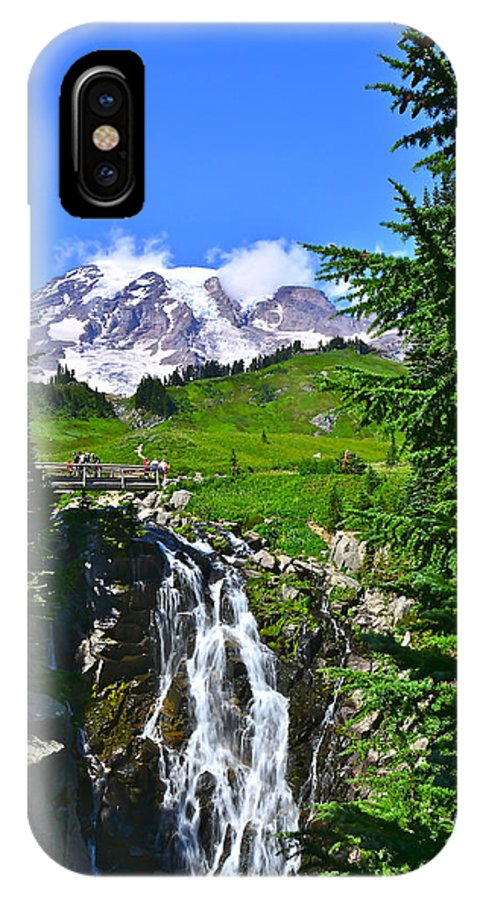Mt. Rainier National Park IPhone X Case featuring the photograph Mt. Rainier From Myrtle Falls by Don Mercer