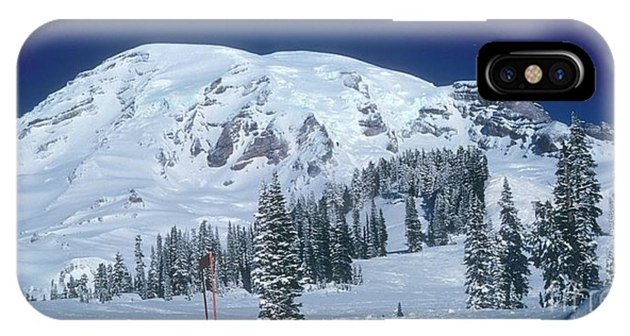 Mt. Rainier IPhone X Case featuring the photograph Mt. Rainier by Larry Keahey