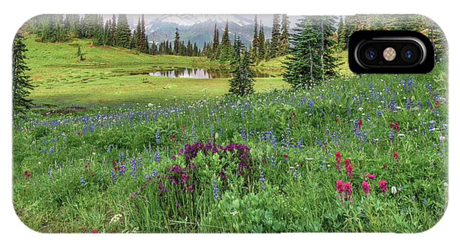 Mt Rainier IPhone X Case featuring the photograph Mt Rainier Meadow Flowers by Harold Coleman
