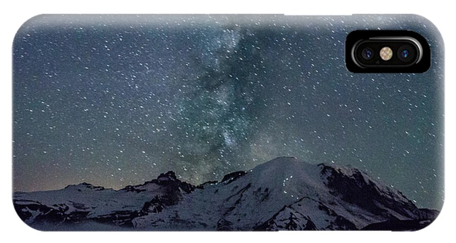 Mtrainier IPhone X Case featuring the photograph Mt Rainier Milkway Climbers by Arun Rohila