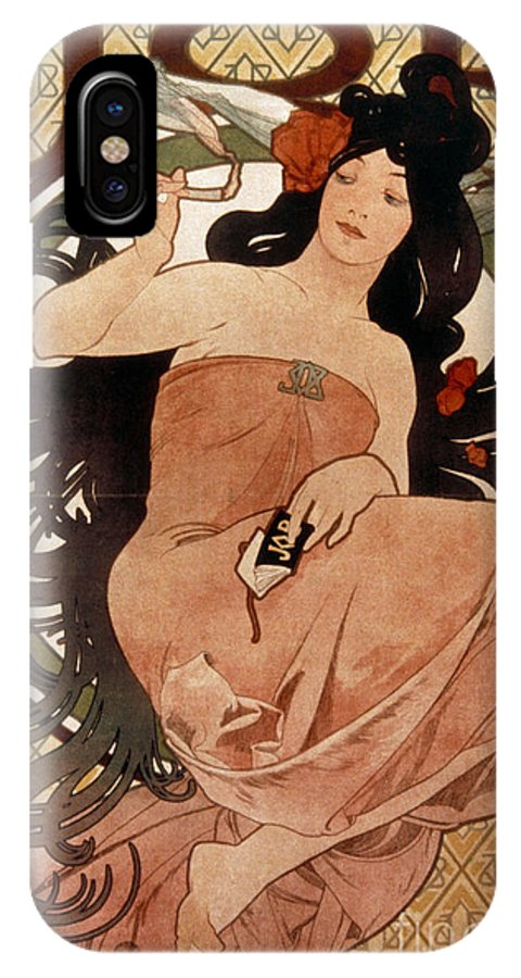 1898 IPhone X Case featuring the photograph Mucha: Cigarette Paper Ad by Granger