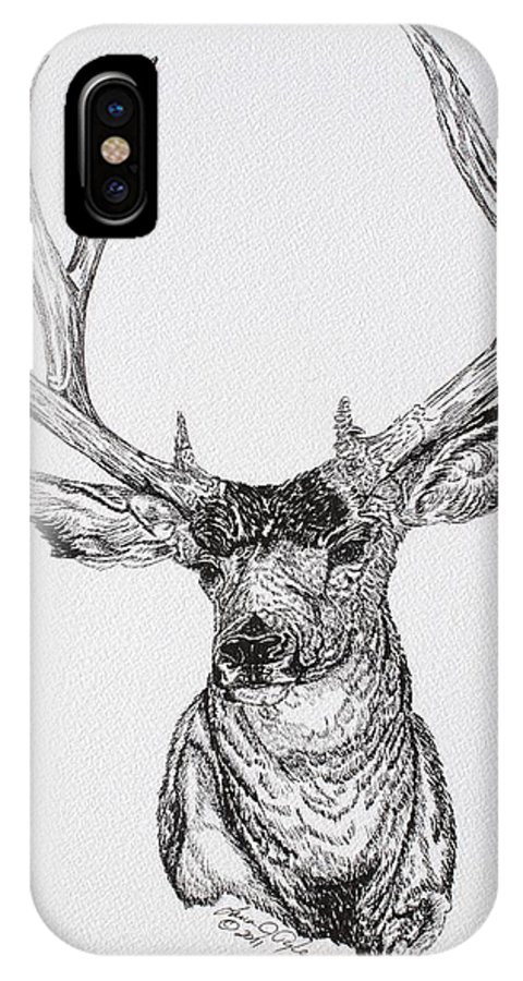 Animal IPhone X Case featuring the drawing Mule Deer Buck by Lana Tyler