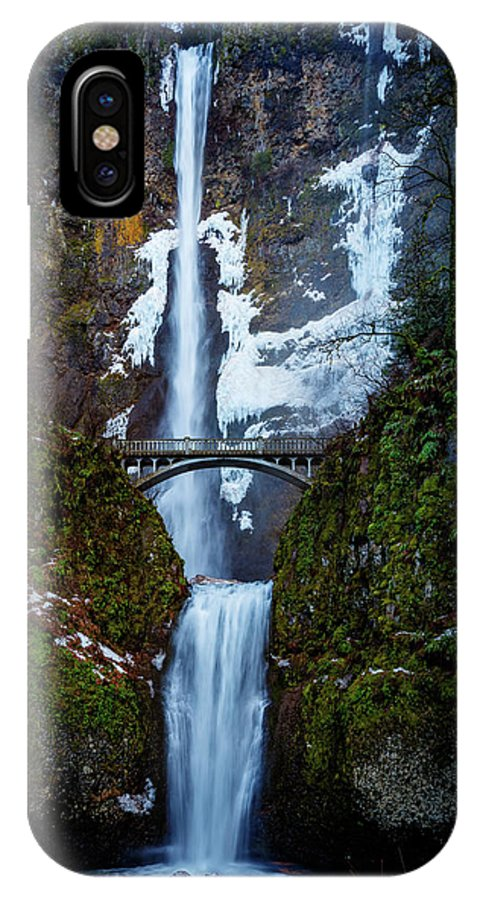 Multnomah Falls IPhone X Case featuring the photograph Multnomah Falls Frozen by Mike Penney