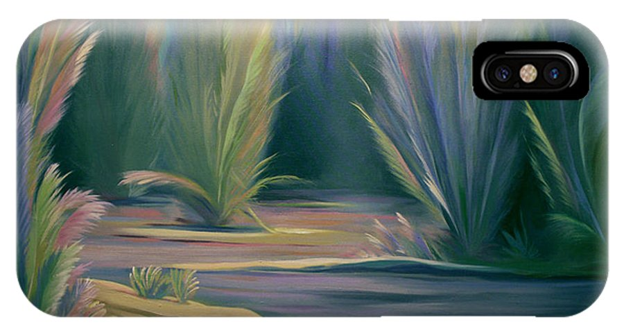 Feathers IPhone X Case featuring the painting Mural Field of Feathers by Nancy Griswold