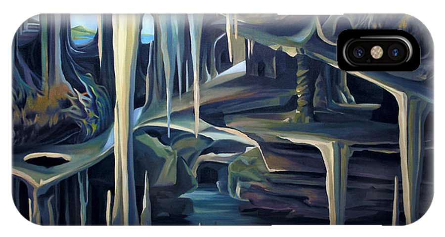 Mural IPhone X Case featuring the painting Mural Ice Monks In November by Nancy Griswold
