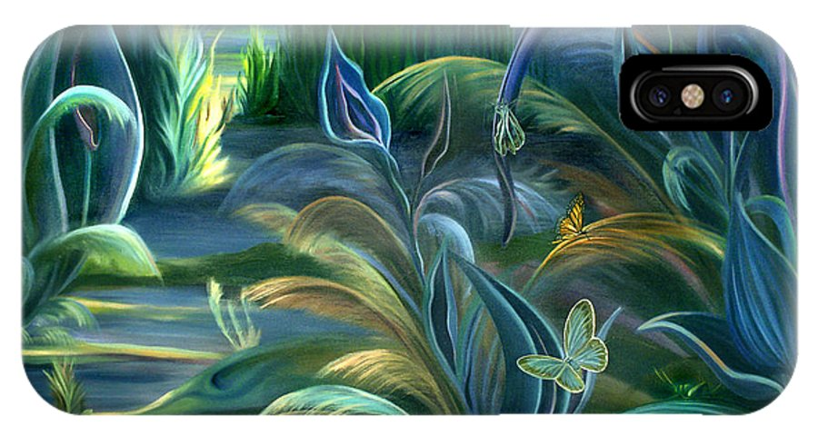 Mural IPhone X Case featuring the painting Mural Insects Of Enchanted Stream by Nancy Griswold