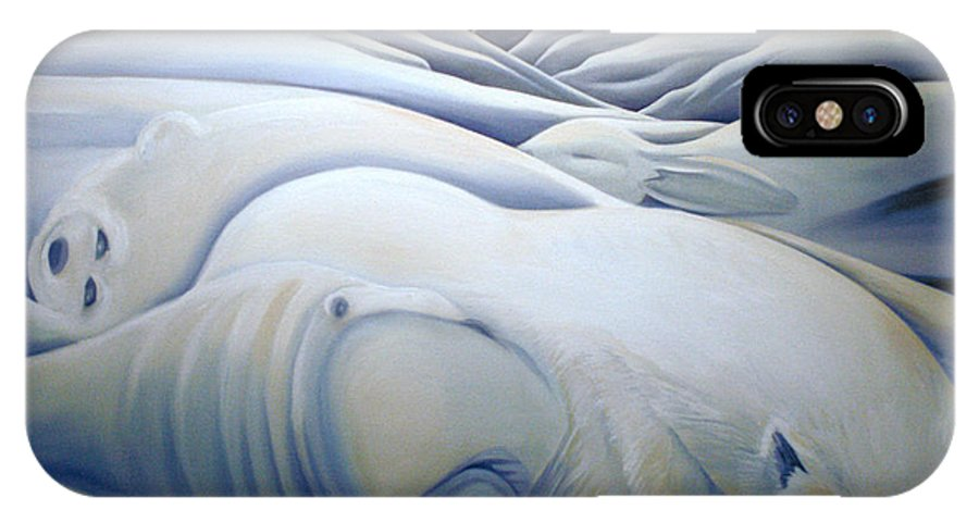 Mural IPhone X Case featuring the painting Mural Winters Embracing Crevice by Nancy Griswold