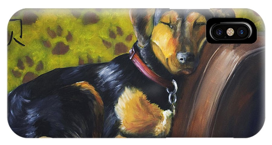 Dog IPhone X Case featuring the painting Murphy Vi Sleeping by Nik Helbig