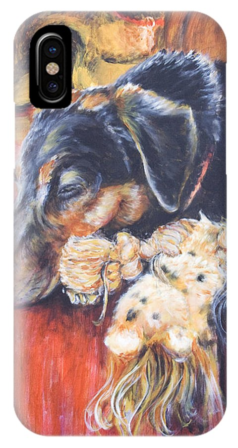 Dog IPhone X / XS Case featuring the painting Murphy Viii by Nik Helbig