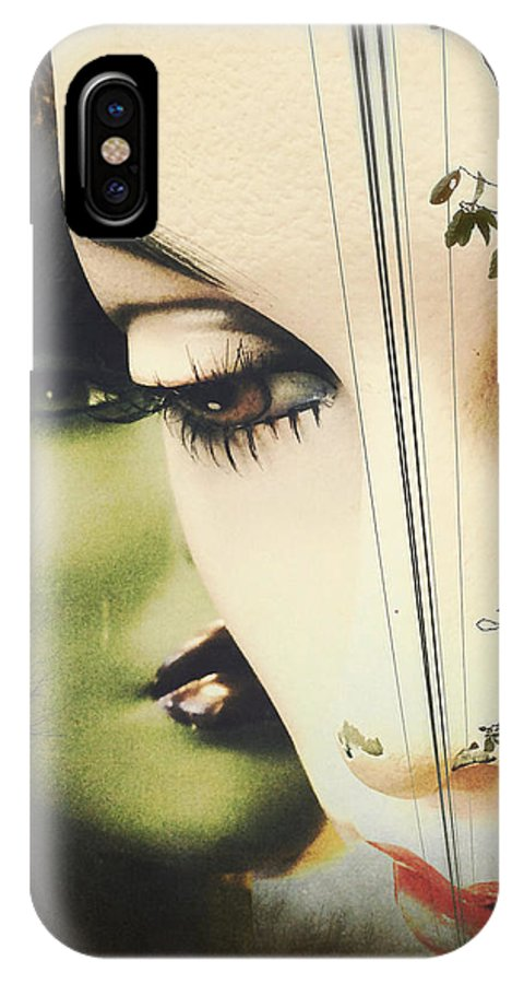 Collage IPhone X Case featuring the pyrography Muses by Colleen VT