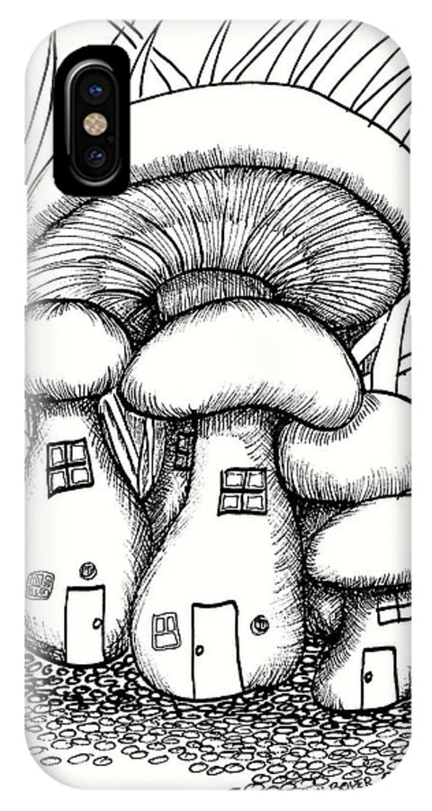 #dawndboyer IPhone X Case featuring the drawing Mushroom Fairy Houses And Grass by Dawn Boyer
