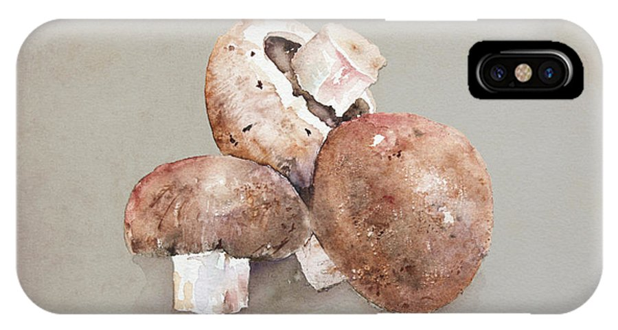 Mushroom IPhone X Case featuring the painting Mushrooms by Arline Wagner