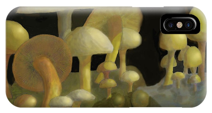 Mushrooms IPhone X Case featuring the digital art Mushrooms by Ian MacDonald