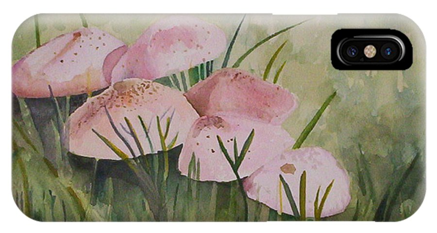 Landscape IPhone X / XS Case featuring the painting Mushrooms by Suzanne Udell Levinger
