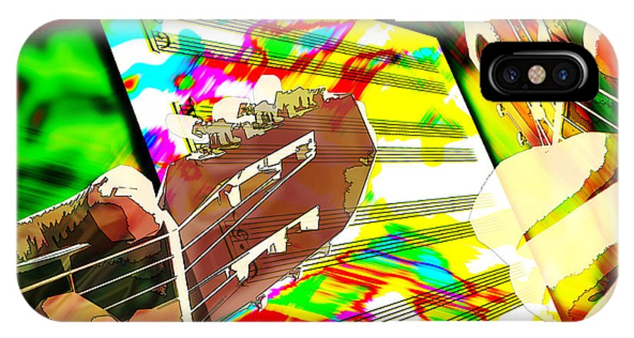 Guitar IPhone X Case featuring the digital art Music Creation by Phill Petrovic