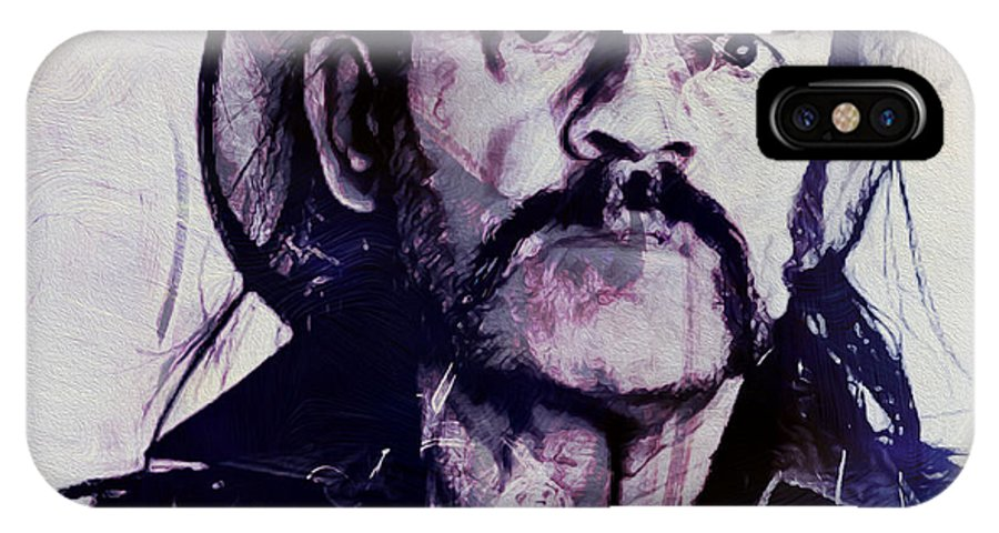 Lemmy IPhone X / XS Case featuring the painting Music Icons - Lemmy Kilmister Iv by Joost Hogervorst