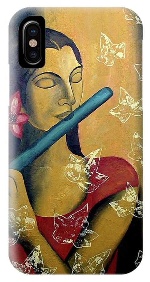Original Colorful Bold And Vibrant Girl Playing Flute Acrylic Texture Painting For Home Decor IPhone X Case featuring the painting Music In Silence by Mounika Narreddy