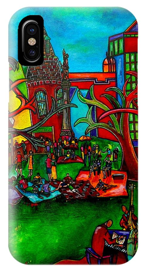 San Antonio IPhone X Case featuring the painting Music In The Park by Patti Schermerhorn