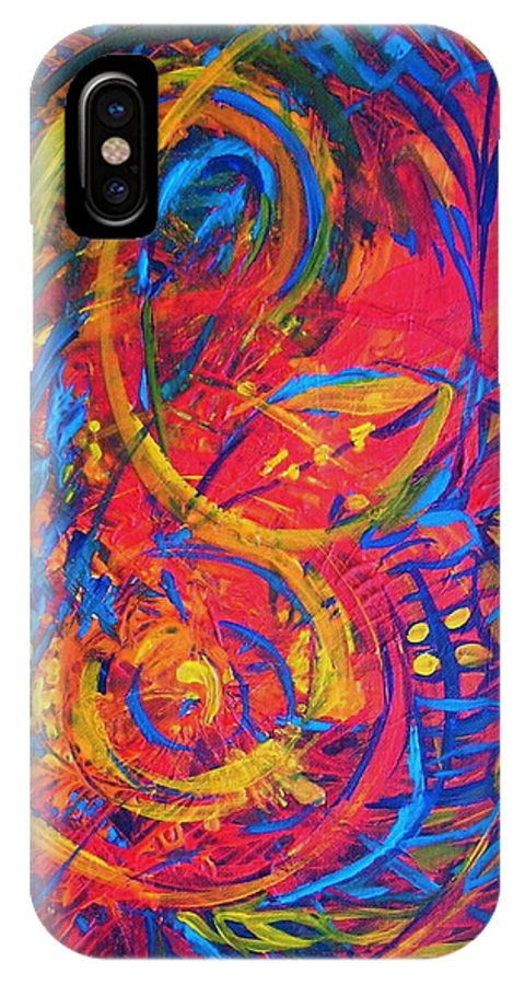 Abstract IPhone X Case featuring the painting Music by Jeanette Jarmon