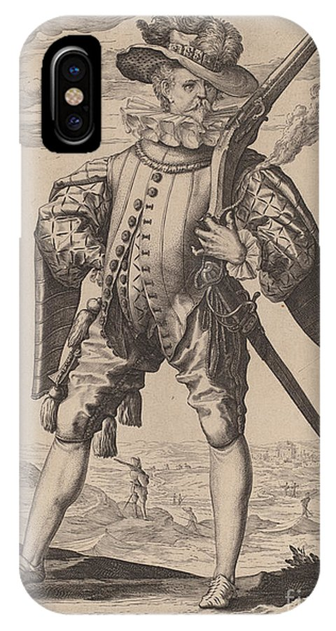 IPhone X Case featuring the drawing Musketeer by Jacques De Gheyn Ii After Hendrik Goltzius