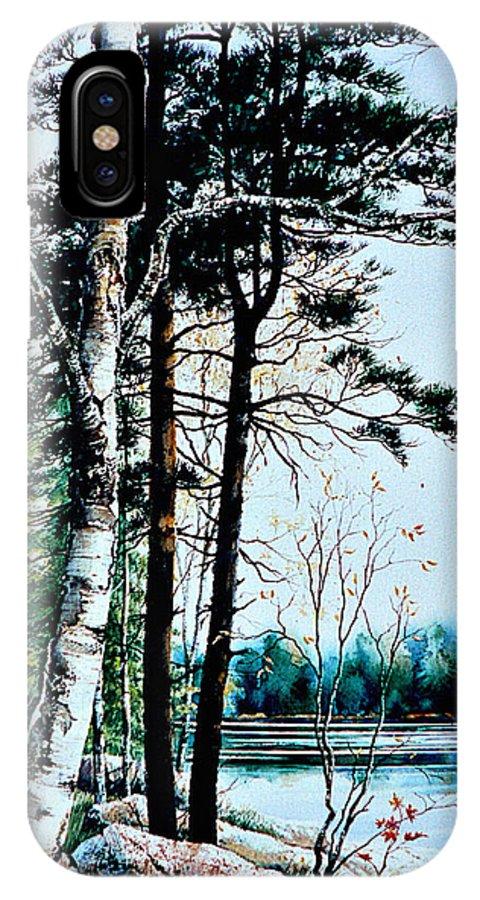 Muskoka Morning Landscape Painting IPhone X Case featuring the painting Muskoka Morning by Hanne Lore Koehler