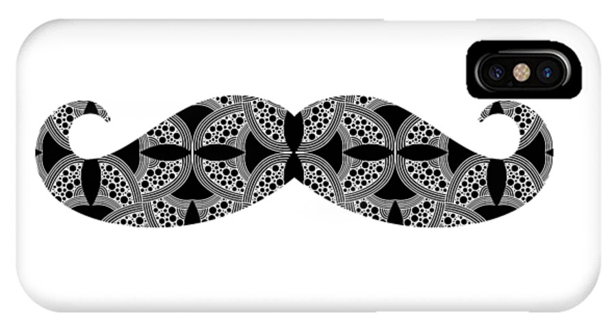 Mustache IPhone X Case featuring the digital art Mustache Tee by Edward Fielding