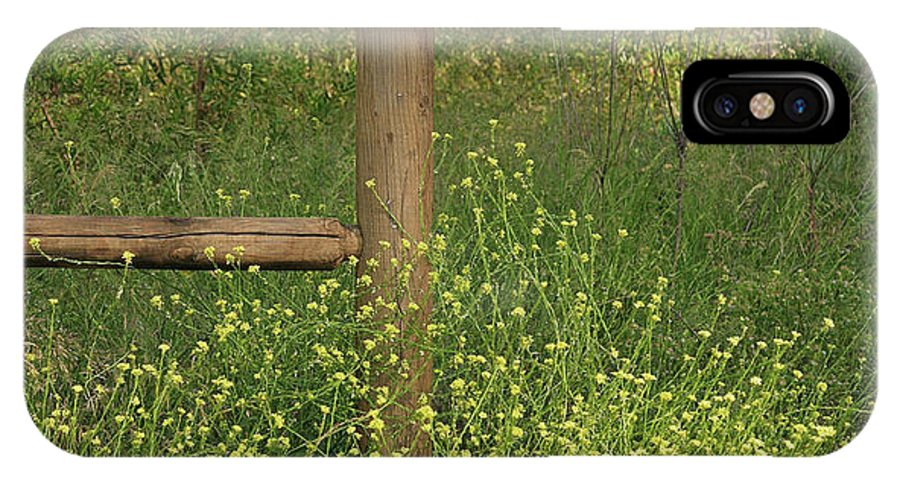 Linda Brody IPhone X Case featuring the photograph Mustard Grass And Fence At Entrance To Peters Canyon by Linda Brody