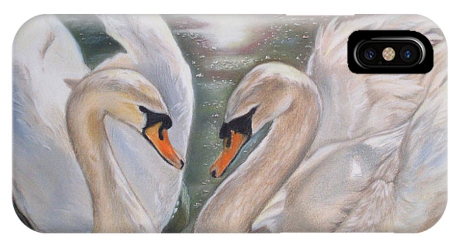 Swan IPhone X Case featuring the painting Mute Swans - River Severn by Irisha Golovnina