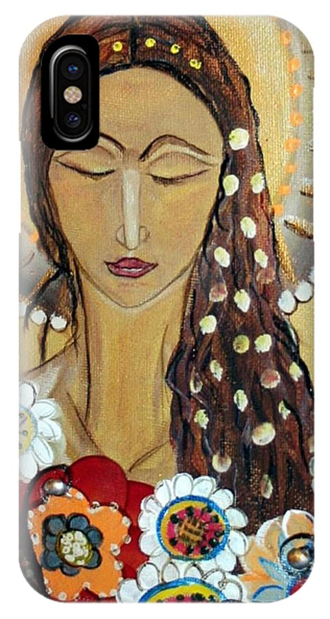 Art IPhone X Case featuring the painting My Angel Modern Icon by Luiza Vizoli