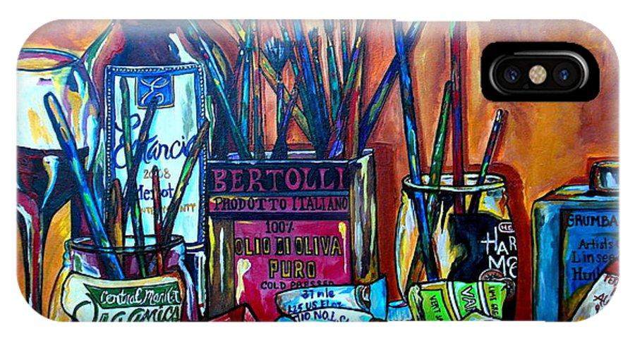 Art Studio IPhone X Case featuring the painting My Art Studio by Patti Schermerhorn