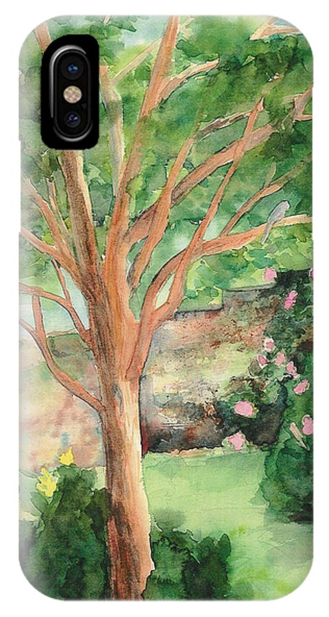 Landscape IPhone X Case featuring the painting My Backyard by Vicki Housel