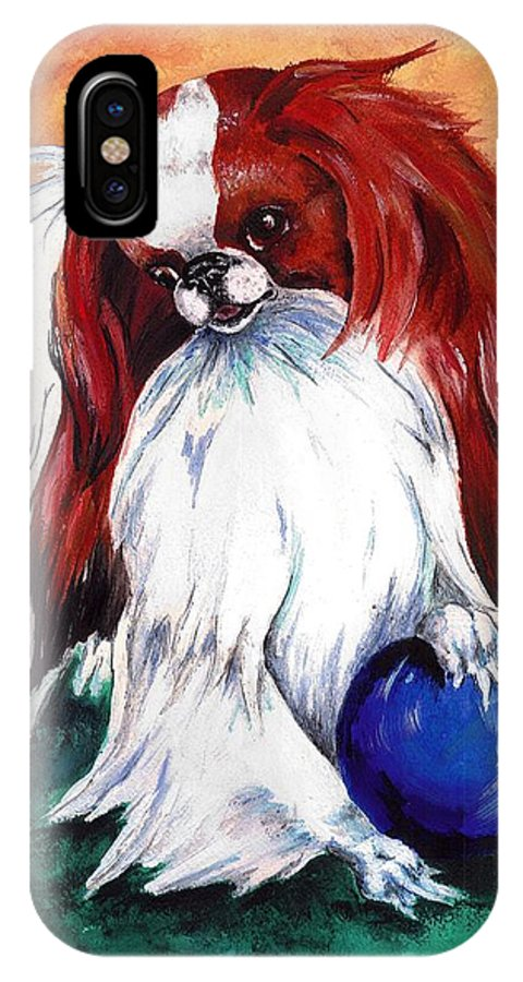 Japanese Chin IPhone X / XS Case featuring the painting My Ball by Kathleen Sepulveda