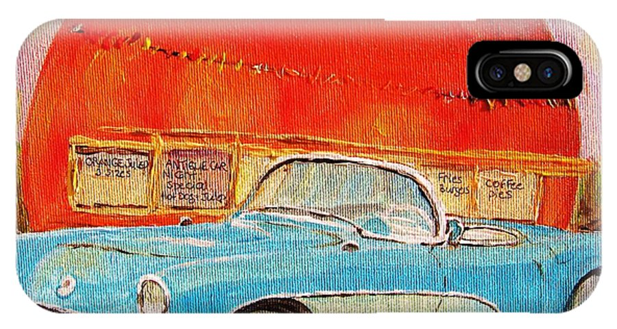 Montreal IPhone X Case featuring the painting My Blue Corvette At The Orange Julep by Carole Spandau