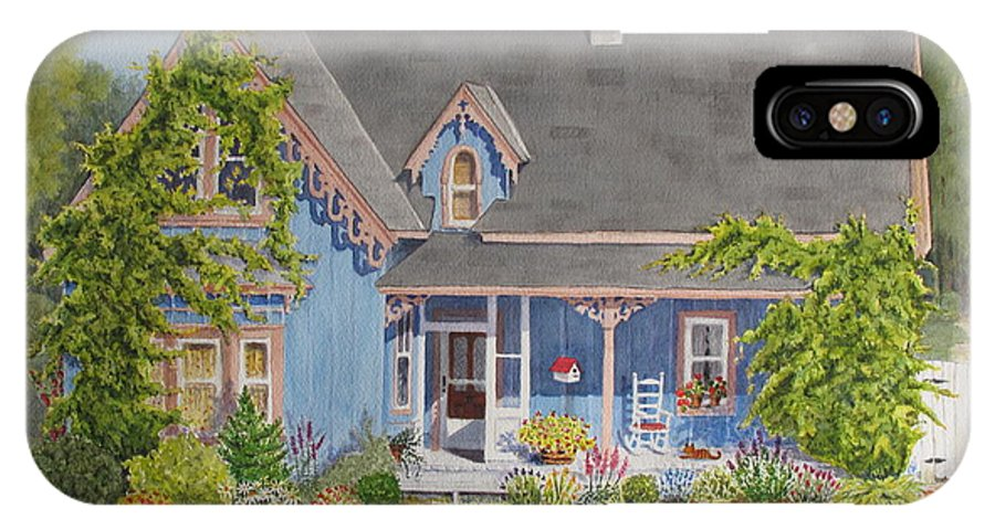 House IPhone X Case featuring the painting My Blue Heaven by Mary Ellen Mueller Legault