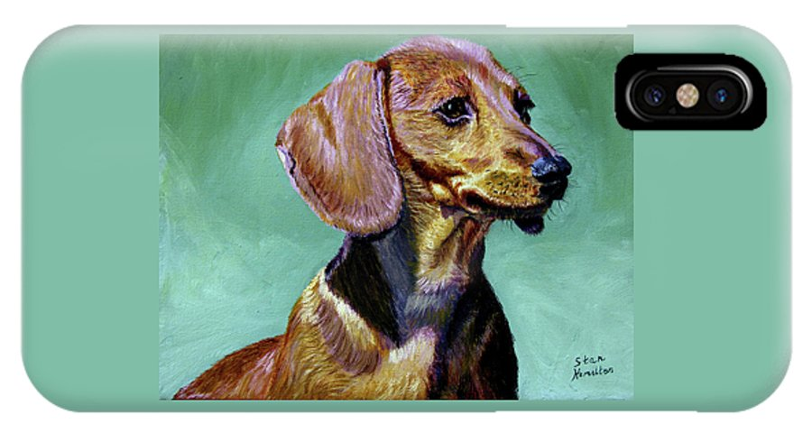 Daschund IPhone X / XS Case featuring the painting My Daschund by Stan Hamilton