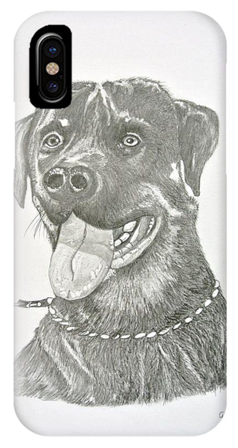 My Dog IPhone X Case featuring the drawing My Dog Kito by Gregory Hayes