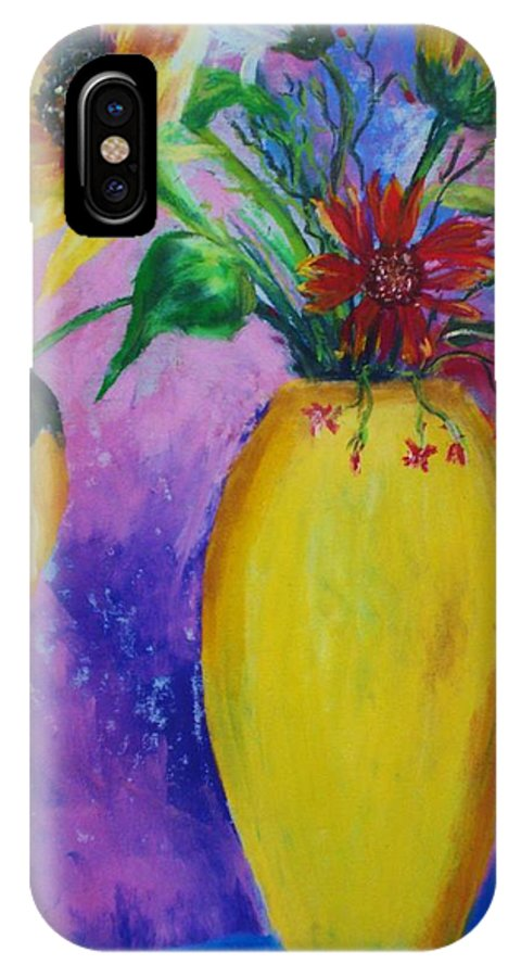 Sunflowers IPhone X Case featuring the painting My Flowers by Melinda Etzold