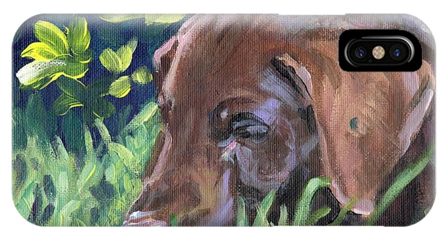 Chocolate Lab IPhone X / XS Case featuring the painting My Forever Home by Sheila Wedegis