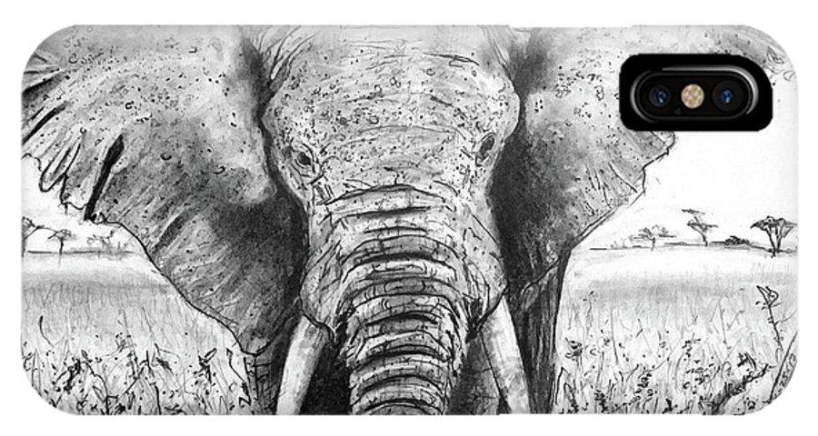 My Friend The Elephant Ii IPhone X Case featuring the drawing My Friend The Elephant II by Jose A Gonzalez Jr