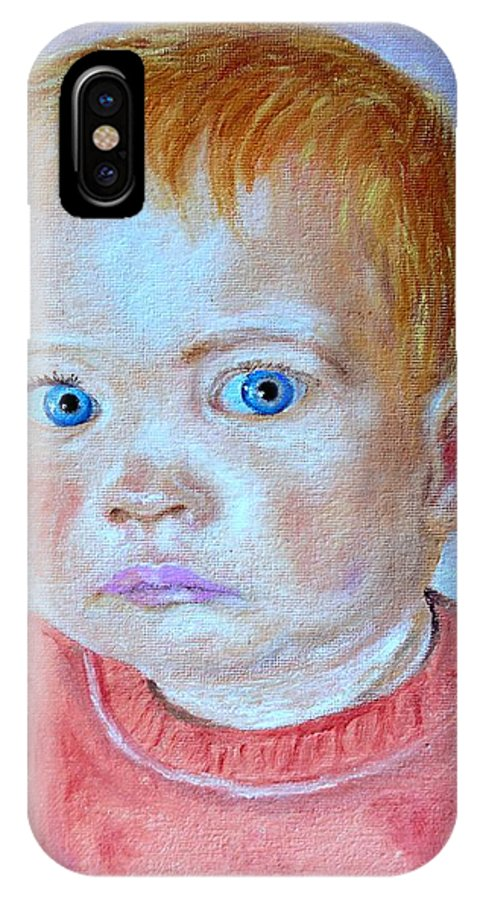 Leonie IPhone X Case featuring the painting My granddaughter Leonie by Helmut Rottler