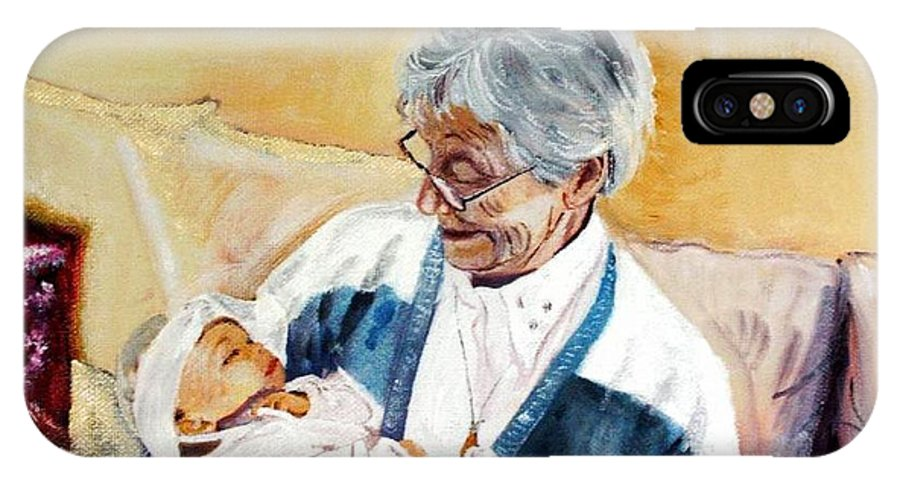 Portrait IPhone X Case featuring the painting my granddaughter Leonie with her great grandmum by Helmut Rottler