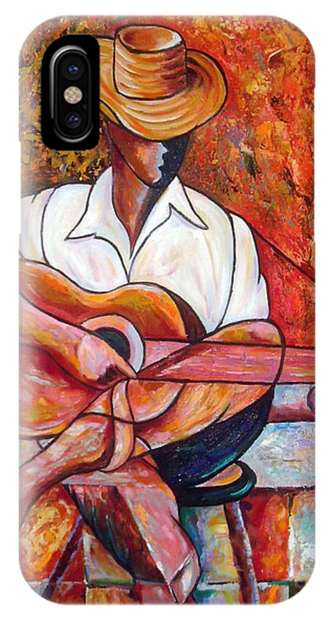Cuba Art IPhone X Case featuring the painting My Guitar by Jose Manuel Abraham