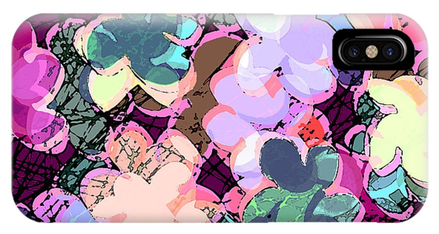 Abstract IPhone X Case featuring the digital art My Little World by Rachel Christine Nowicki