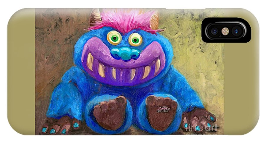 Stuff Animal IPhone X Case featuring the painting My Monster Friend by Cara alex White