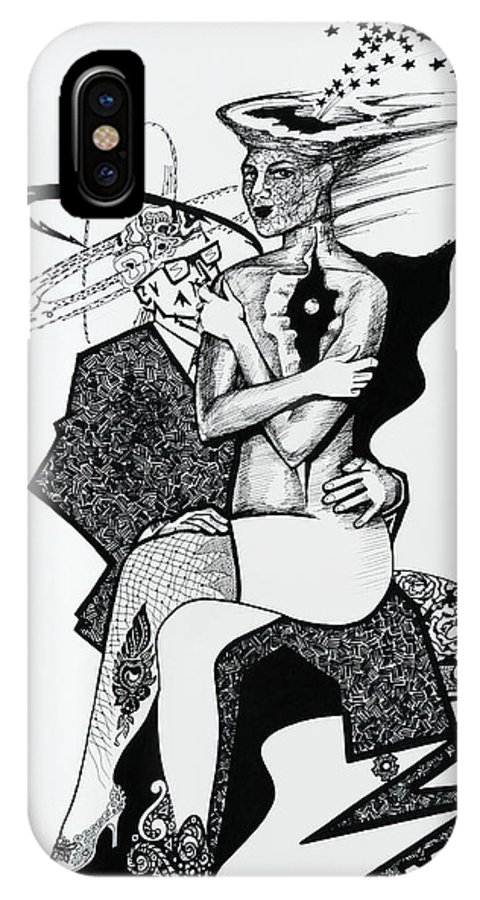 Love IPhone X Case featuring the drawing My Shadow And I by Yelena Tylkina