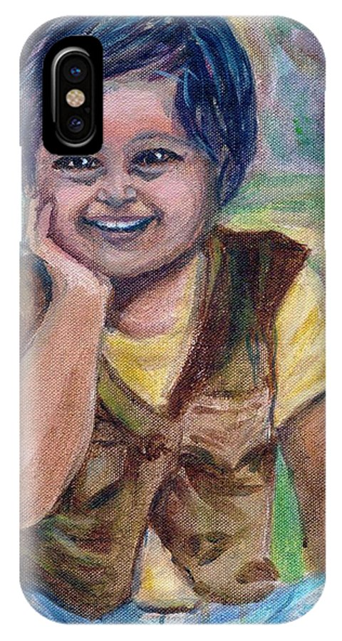 Little Boy IPhone X Case featuring the painting My Son When He Was A Toddler by Asha Sudhaker Shenoy