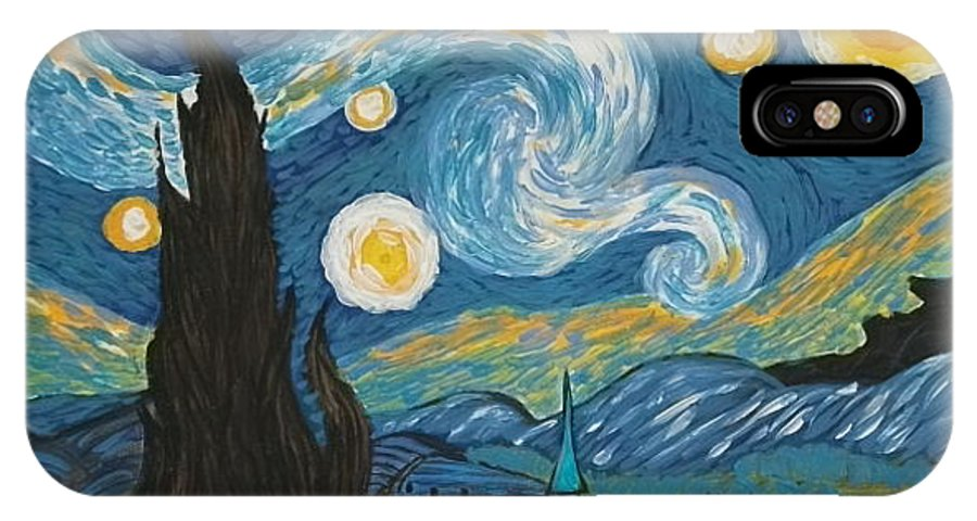 Vincent IPhone X / XS Case featuring the painting My Starry Nite by Angela Miles Varnado
